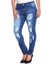 Fashion Lab - Destructed Rips Sandblasted Skinny Jean (Plus)