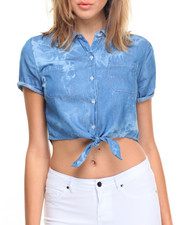 Tops - Cloud Wash Cropped Denim Shirt