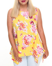 Fashion Tops - Floral Print Cold Shoulder Top (Plus)