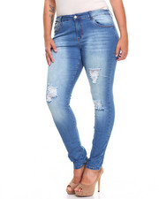 Bottoms - Sandblasted Square Rips Stretch Skinny Jean (Plus)