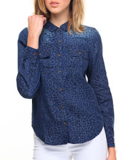 Polos & Button-Downs - Animal Print Denim Shirt