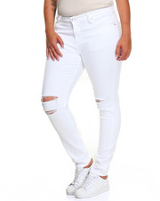 Fashion Lab - Slit Knee Rips Stretch Skinny Jean (Plus)