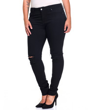 Women - Slit Knee Rips Stretch Skinny Jean (Plus)
