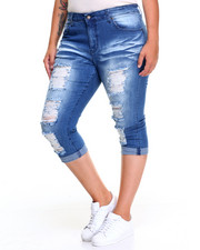 Women - Girlfiriend Rips Stretch Roll-up Skinny Jean (Plus)