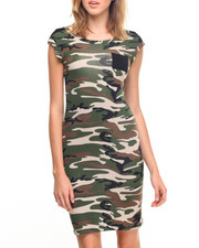 Dresses - Camo Stretch Cotton Sheath Dress
