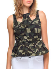 Fashion Tops - Camo Grommet Trimmed Peplum Top