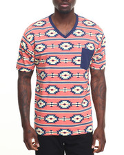 Basic Essentials - Aztec Printed V-Neck S/S Tee