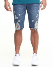 Men - Ripped Knee-Hole Denim Shorts