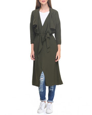 Fashion Lab - Long Sleeve Belted Shawl Duster