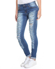 Women - Frontal Rips Sandblasted Skinny Jean