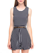 Jumpsuits - Bullet Stripe Metal Belt Romper