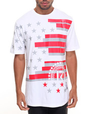 Men - AMERICAN FLAG THEME TEE ROUND HEM W/ SIDE ZIPPERS
