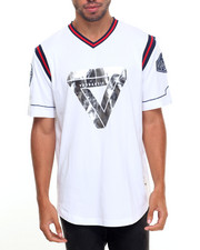 Men - STRIPE RIBBED POLY JERSEY BASEBALL TEE HIERARCHY FOIL PRINT W/SLEEVE PATCHES