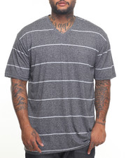 Basic Essentials - BASIC MARLED YARN STRIPED V-NECK S/S TEE (B&T)