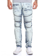 Jeans & Pants - Rip - Off Moto - Style Denim Jeans W/ Zipper Trim