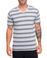 Men - Basic Striped V - Neck S/S Tee