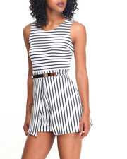 Fashion Lab - Bullet Stripe Metal Belt Romper