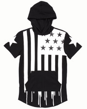 T-Shirts - ELONGATED HOODED AMERICANA FLAG DRIP TEE (8-20)