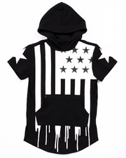 T-Shirts - ELONGATED HOODED AMERICANA FLAG DRIP TEE (4-7)