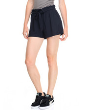 Basic Essentials - Alba Solid Self Belt Woven Short