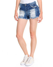 Women - Stretch Denim Bandana Print Rips Short