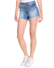 Women - Exposed Button Stretch Denim Short