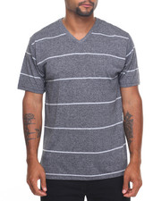 Basic Essentials - Basic Marled Yarn Striped V - Neck S/S Tee