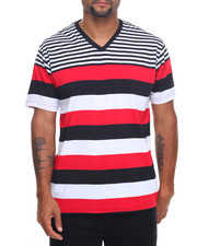 Basic Essentials - Basic Multi - Stripe V - Neck S/S Tee