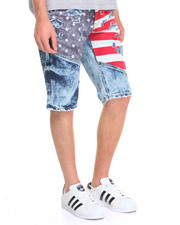Men - Flag Print Distressed Denim Shorts