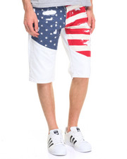 Shorts - Flag Print Distressed Denim Shorts