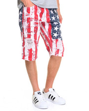 Men - Flag Print Denim Shorts