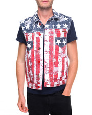 Men - Flag Print Denim Vest