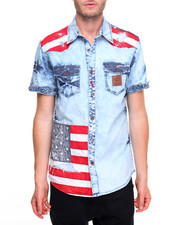 Button-downs - Flag Print S/S Button-Down