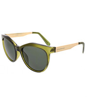 Women - Geo Angular Cat Green Lens Metal Temple Sunglasses