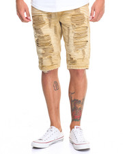 Men - Distressed Color Denim Short