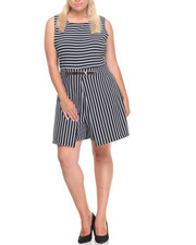 Fashion Lab - Bullet Stripe Metal Belt Romper (Plus)
