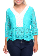 Fashion Tops - Allover Lace Peplum Top (Plus)