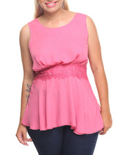 Fashion Tops - LACE & CRISS CROSS SLEEVELESS TOP (PLUS)