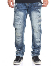 Men - Destruction Rip - And - Repair Denim Jeans