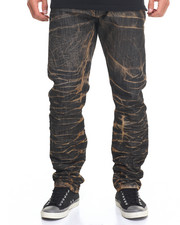 Men - Brown - Out Acid Wash Denim Jeans