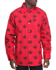 Men - L/S Ganja Buttondown
