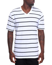 Men - Pinstripe V - Neck S/S Tee