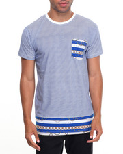 Men - Striped S/S Tee With Design Bottom
