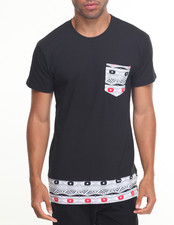 Men - Solid S/S Tee With Design Bottom