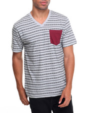 Men - Pattern Printed V-Neck S/S Tee