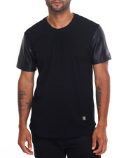 Men - C'Kel Faux Leather - Sleeve S/S Tee