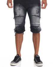 Shorts - Moto Zipper - Trim Bleached Denim Shorts