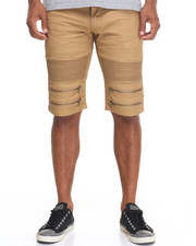 Shorts - Moto Coated Zipper - Trim Denim Shorts