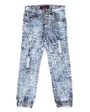 La Galleria - DISTRESSED CRACKLE PRINT DENIM JOGGERS (7-16)