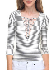 Tees - Sailor 3/4 Sleeve Stripe Top